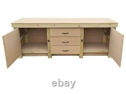 Wooden Work Bench With Drawers and Double Lockable Cupboard Heavy-Duty MDF Top