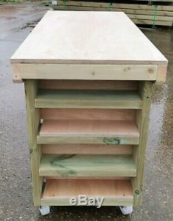 Wooden Workbench Eucalyptus Ply Top with Extra Shelving Industrial Heavy-duty