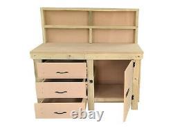 Wooden Workbench MDF Tool Cabinet with Lockable Cupboard Heavy-duty Work Table