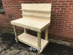 Workbenc 4ft 18mm Thick Plywood Work Bench Heavy Duty With Backboard & Shelves