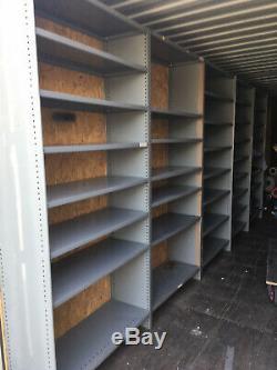 Workshop industrial shelving, heavy duty metal Dexion shelving, 9 bays