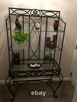 Wrought Iron Bakers Rack style with Glass Shelves