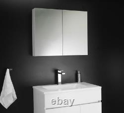 100% Étanche 600mm Mirrored Blanc Double Armoire Murale Mounted Unité De Stockage