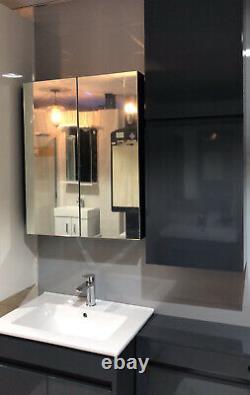 100% Imperméable À L'eau 600mm Armoire Miroir Dark Gloss Grey Wall Mounted Storage Unit