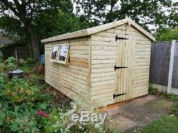12'x8' Tanalised 19mm T & G Feuillure Potting Shed / Inc Banc & Système Shelving