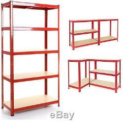 (1500 X 700 X 300) MM Heavy Duty Storage Rayonnage 5 Niveau Red Rayonnage Emboîtable