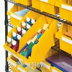 24 Bin Commercial Garage Atelier Roulant Roues En Métal Rack Tablettes De Rangement