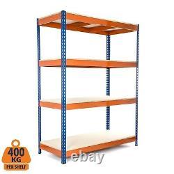 2 X 4 Rang Steel Shelving Heavy Duty Garage Storage Racking 400kg Udl