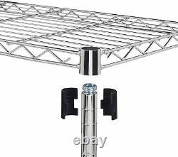 3/4/5 Tier Rack Plateau Lourd De Service Garage Unité De Stockage Étagères En Fil D'acier Chrome