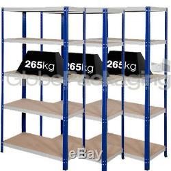 3 Baies De Rayonnage Industriel 1800x900x600mm 265kg D'entrepôt Ultra-résistant