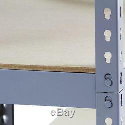 3 Clayettes Garage Rayonnage 5 Tier Racking Emboîtable Heavy Duty Étagère De Rangement 120cm