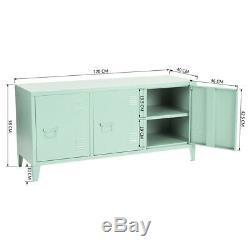 3 Portes Fichier Métal Fermé Armoire De Rangement Vert Console Tv Stand Pour Home Office