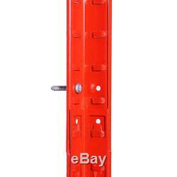 3 X Tablettes De Garage En Métal Rouge, Étagères De Rangement Pour Rayonnage Robuste 180x90x45cm