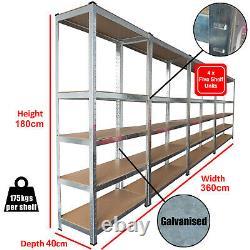 4 Baies 5 Racking Niveau Emboîtable Garage Étagère Support De Rangement Heavy Duty