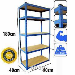 4 Baies 5 Racking Niveau Emboîtable Garage Étagère Support De Rangement Heavy Duty Bleu