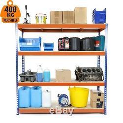 4 Niveau Acier Étagères Heavy Duty Rangement Pour Le Garage Racking Bleu Et Orange 400kg Udl