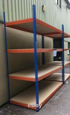 4 Tier Heavy Duty Racking Steel Garage Étagère Casiers Bleu Et Orange