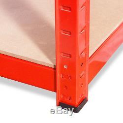 4 X Tablettes De Garage En Métal Rouge, Étagères De Rangement Pour Rayonnage Robuste 180x90x45cm