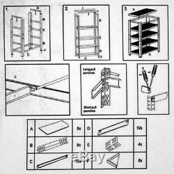 5 Niveau Racking Shelf Garage Étagère Heavy Duty Etagères De Stockage 180x90x40cm
