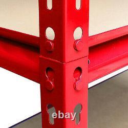 5 Niveaux De Stockage Lourd Coffret De Rayonnage Rouge Garage Sans Boulon 150 X 70 X 30 CM