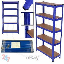 5 Tier Heavy Duty Bleu Rayonnages Métalliques De Montage En Rack Shelve Rack Sans Boulons En Acier Shelf