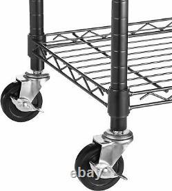 5-shelf Black Heavy Duty Steel Bureau Garage Étagères De Rangement Rolling Roue Rack