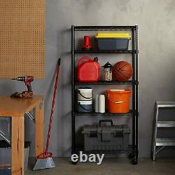 5-shelf Black Heavy Duty Steel Office Garage Storage Étagères Roulante Rack