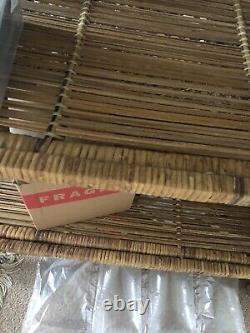 60 -70s Large Floor Standing Bamboo Wicker Rattan Shelwit Boho Tiki #
