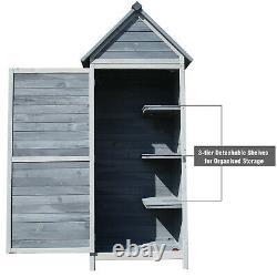 Abri Extérieur Extérieur De Stockage D'outil De Jardin Avec 3 Étagères Et Armoire De Stockage De Porte