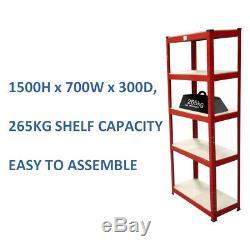 Acier Red 5 Teir Métal Rayonnage Emboîtable Rayonnage Garage 265 KG Heavy Duty Shelf