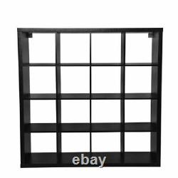 Affichage Unitaire 16 Cube Bookshelf Storage Bookcase Shelves Holder Home Office Black