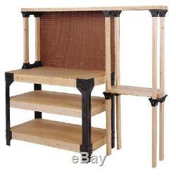 Banc De Travail Table Kit Garage Tablettes Robustes En Bois Noir Nouveau