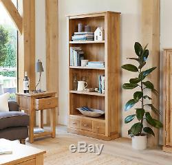 Baumhaus Mobel Oak Grande Bibliothèque Avec 3 Tiroirs En Chêne Massif