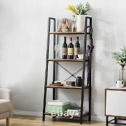 Bibliothèque De Plate-forme D'échelle 4-tier Bookshelf Plant Flower Stand Rangement Cadre En Métal