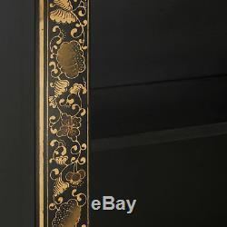 Bibliothèque Supérieure À 4 Tablettes Ming Oriental En Bois Massif, Grande Feuille D'or Noir