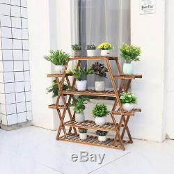 Bois / Bambou / Métal Usine Jardinière Rack Étagère Multi Niveau D'angle Jardin Stand