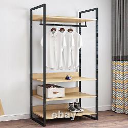 Chambre Double Open Wardrobe Clothes Rail Coat Stand 4 Étagères Armoire De Rangement