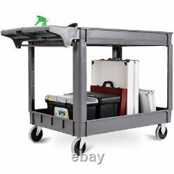 Chariot De Service En Plastique Lourd De 2 Étages Chariot Utilitaire Avec Roues D'étagère Gris