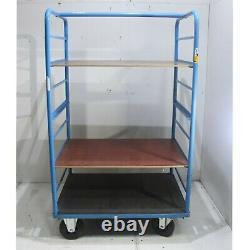 Chariot Industriel De Camion De Stock Lourd Utilisé D'étagère Avec 2 X Étagères De Ply