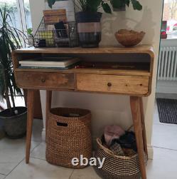 Console En Bois Courbé Moderne Rustique Table 2 Tiroirs De Style Nordique Jambes Faites À La Main