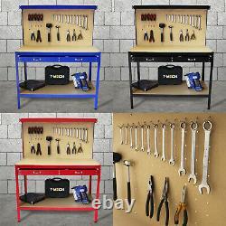Établi Avec L'outil De Tiroir Pegboard Garage Stockage Heavy-duty Steel Workshop Diy