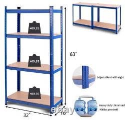 Garage Storage Rack Unit Heavy Duty Iron Shelves 4 Tier Metal Étagères Bleues 63