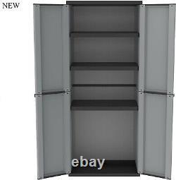 Grande Armoire De Rangement En Plastique Étagères Jardin Extérieur Garage Tool Shed Box #uk