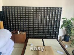 Grandes Étagères De Séparation De Chambre En Bois Ébonisé Massif Japonais Murs Apothécaires X 2