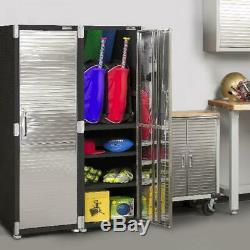 Heavy Duty Grand Stockage En Acier Cabinet 4 Étagères Rack Garage Boutique Satin Graphite