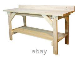 Heavy Duty Natural Wood 6' Garage/basement Work Bench W Table De Travail Sur L'étagère De Stockage