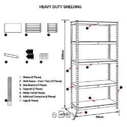 Heavy Duty Rangement En Métal 5tier Rayonnage Emboîtable Racking Étagère Rack Shelve