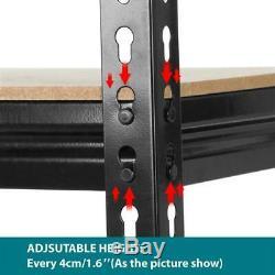 Heavy Metal Noir Duty 5 Niveau Garage Ensemble De Rangement Rack De 3 Tablettes Réglables