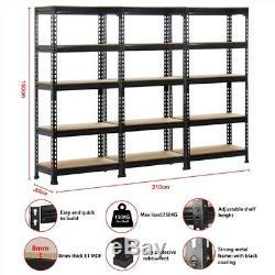 Heavy Metal Noir Duty 5 Niveau Garage Rack De Stockage Ensemble De 3 Tablettes Réglables