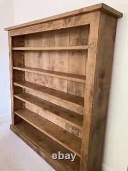 IL Faut Vendre! Pine Solide Indigo Bibliothèque, Fait En Uk Avec Cire Et Brosse Pour L'entretien